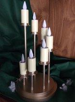 Kandelaar met 7 flikkerende lichtjes - Goud