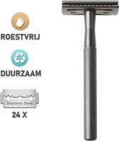 Premium Roestvrije Double Edge Safety Razor + 24 Scheermesjes - Klassiek Dubbelzijdig Scheermes - Veiligheidsscheermes - Geschikt voor Gevoelige Huid - Duurzaam Scheren - Unisex - Zware Kwaliteit - Donkergrijs - Messing - Antraciet