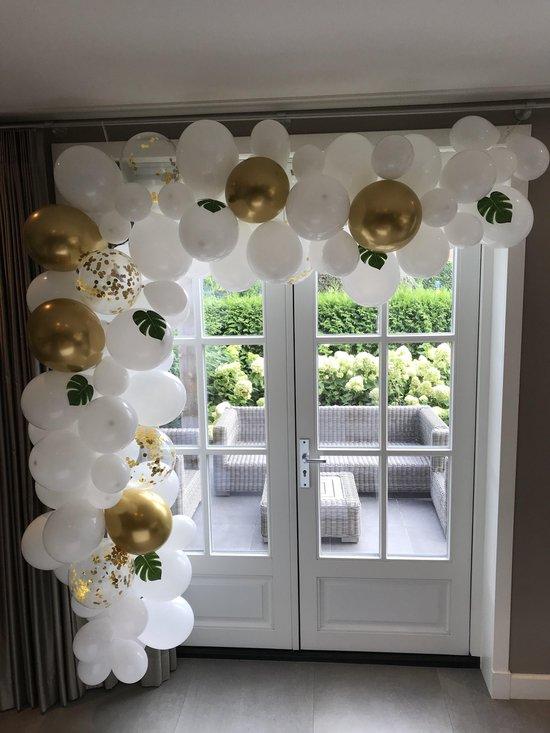 Ballonnenboog - Wit - Goud - Confetti - Palmbladeren - BIEK20 - Verjaardag Versiering - Bruiloft - Babyshower - Party Decoratie - Feest Versiering - 90 stuks