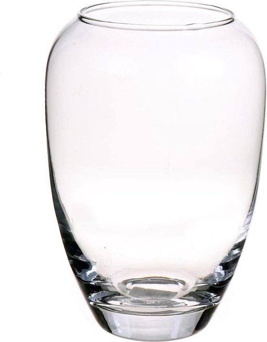 1x Grote glazen ronde bloemenvazen 30 x 16 cm - Transparant - Vazen/vaas - Boeketvazen