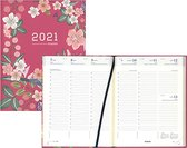 Brepols agenda 2021 - BLOSSOM - Timing - Rood - Vogel & Bloemen - 7d/2p - 6talig - 17,1 x 22 cm