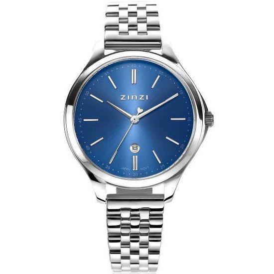 Zinzi Classy dameshorloge ZIW1042 blauw - zilverkleurig + gratis Zinzi armbandje