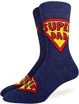 SuperDad - Grappige sokken - one size - cadeau mannen - huissokken - Vaderdag kados - verjaardag - superman sokken - geschenk vader - papa