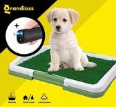 Hondentoilet - Puppy Training Pads - Geurbestendig & Hondvriendelijk Kunstgras - Uitneembare Opvangbak - Voor Puppy's & Kleine Honden - Indoor en Outdoor - 47 x 34 cm - Nu met Gratis Anti-blaftrainer - Grandioss®
