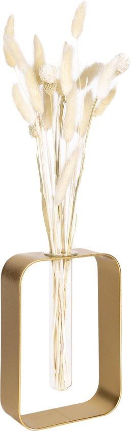 QUVIO Vaasje met metalen frame / Vaas / Vazen / Glazen vaas / Vaas glas / Bloemenvaas / Vaasjes klein - Hydrocultuur / Woonaccessoires / Stekpotje / Bureau accessoire - Goud