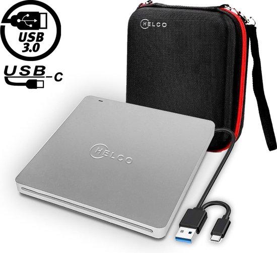 Helco Externe DVD Speler en Brander - CD/DVD Super Drive voor Laptop, Macbook of Desktop – Hoge Snelheid via USB C of USB 3.0 – Zilver