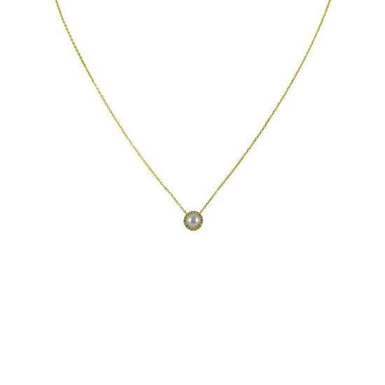 Silventi 9NBSAM-G190189 Gouden Ketting - Dames - Parel - Zirkonia - Entourage - 7,5 mm Doorsnee - Ankerschakel - 38 + 2,5 + 2,5 cm - 14 Karaat - Goud