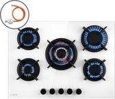 Klarstein Goldflame 5 gaskookplaat 5-pits messing-brander - 3,4 kW, 2,4 kW, 2 x 1,8 kW en 1,0 kW - voor vloeibaar- of aardgas - glaskeramiek