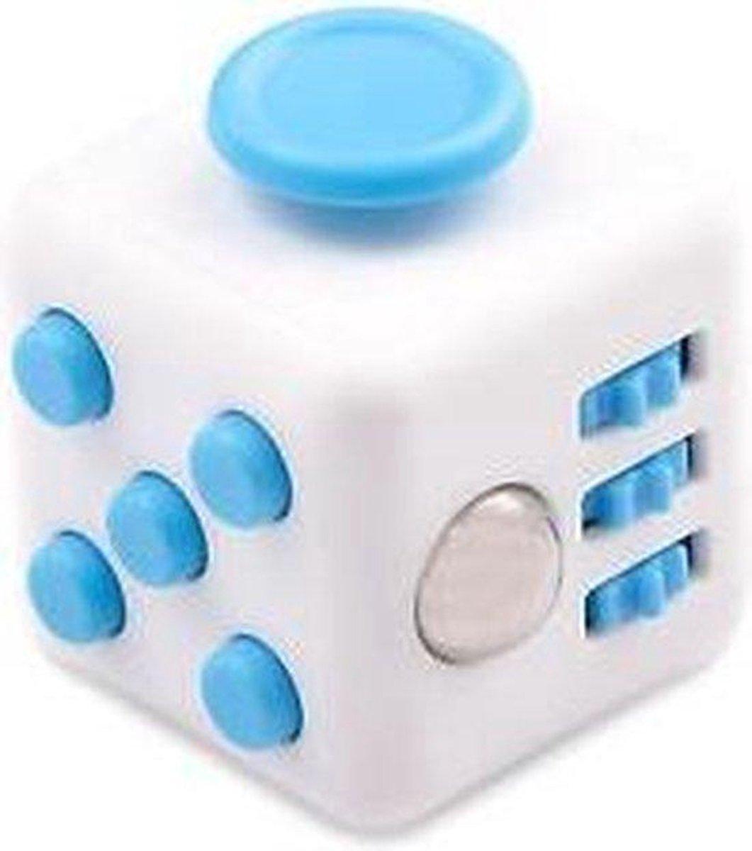 Fidget cube wit blauw