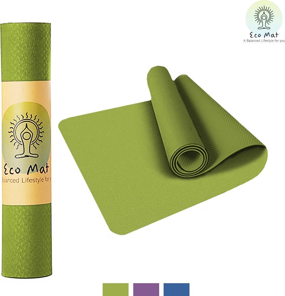 Eco Yoga Mat - Inclusief Draagriem - Anti Slip - Extra Dik (6 mm) - 61 x 183 x 0,6 cm - Zwart/Groen