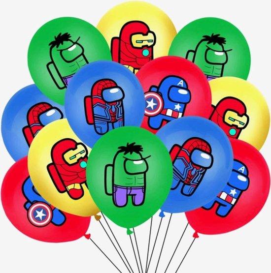 Among Us Ballonnen - 12 Stuks - 25 cm - Marvel Avengers - Ballonnen Verjaardag - Helium Ballonnen - Latex Ballonnen - Games - Iron Man - Hulk - Spiderman - Captain America