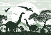 Vliesbehang Dinosaurus XXL – Brontosaurus – 368cm x 254 cm – groen