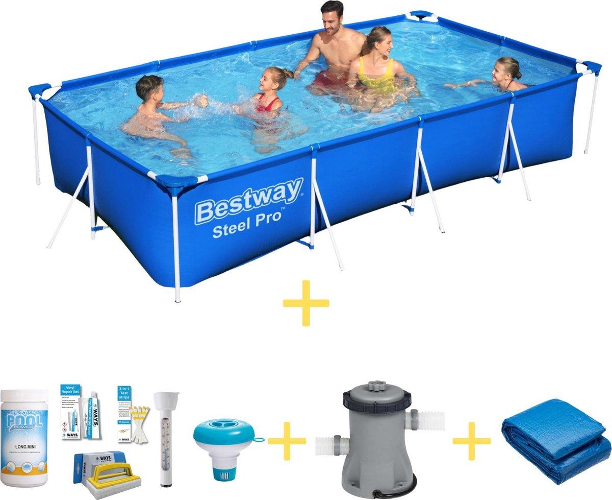 Bestway Zwembad - Steel Pro - 400 x 211 x 81 - Inclusief WAYS Onderhoudspakket, Filterpomp & Grondzeil