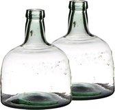 Set van 2x stuks flessenhals bloemenvazen van mondgeblazen glas met hoogte 25 cm en diameter 19 cm