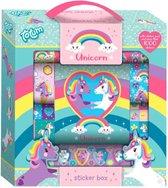 Totum Unicorn Stickerdoos- meer dan 1000 kinderstickers met eenhoornthema  - 12 rollen, 2 vellen en stickerblokje