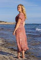 Ibizaflower zijde omslagjurk lang - roze