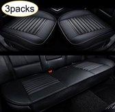 Autostoelhoes - Auto accessories interieur - Autohoes - Stoelhoezen - Autostoel beschermer - Leer - Set 3 stuks - Zwart