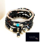 Armbanden set- Dames- Kralen 8 stuks - Zwart- Ibiza Boho- Vrouw- LiLaLove