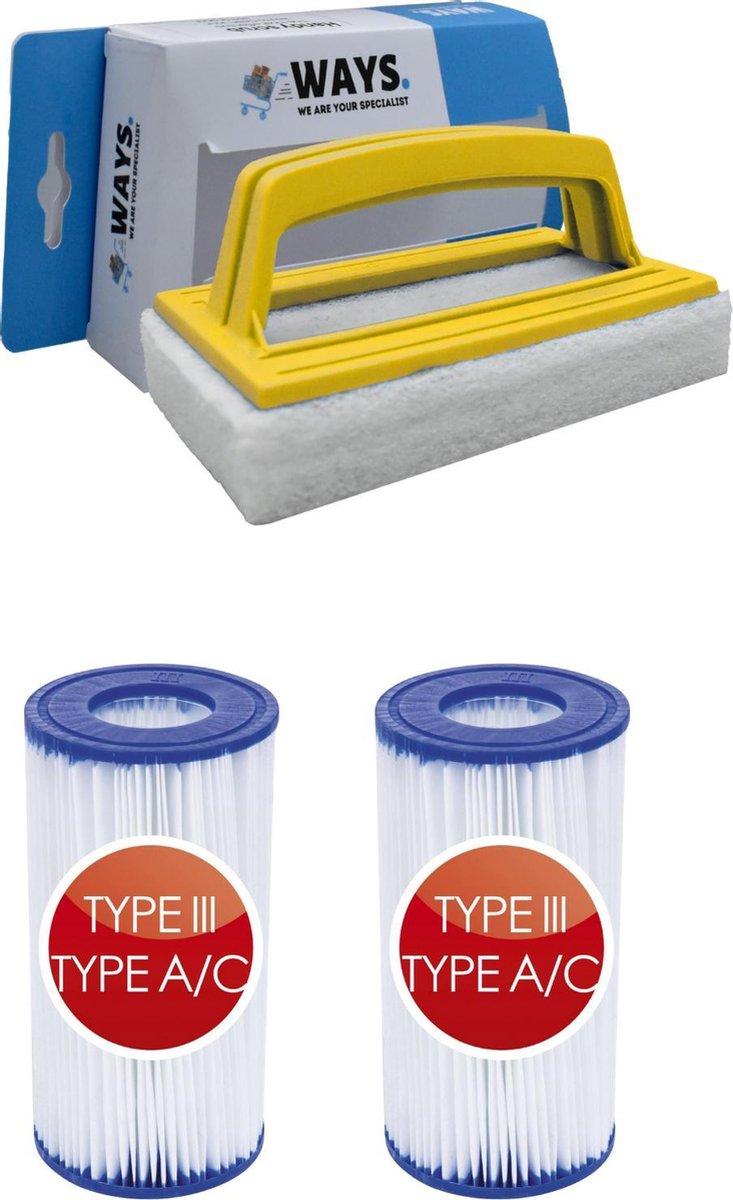 Bestway - Type III filters geschikt voor filterpomp 58389 - 2 stuks & WAYS scrubborstel
