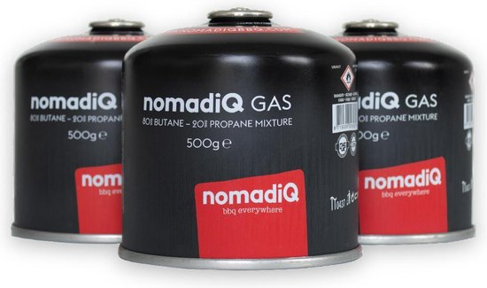 nomadiQ gasflesjes (12 stuks x 500 gram) - EN417 schroefventiel
