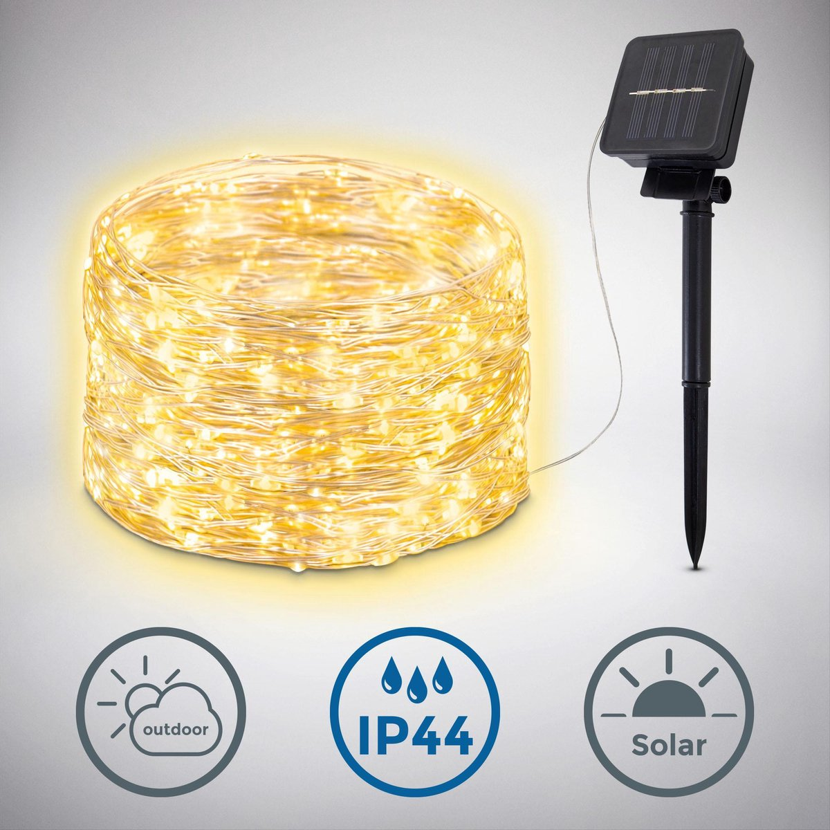 B.K.Licht - Solar Lichtslang LED - Lichtsnoer voor buiten met 240 lichts - 24 meter - buitenverlicht