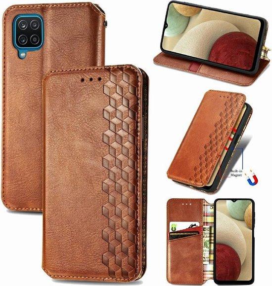 Luxe PU Lederen Wallet Case Voor Samsung Galaxy A12 - Portemonnee Book Case Flip Cover Hoesje Met Multi Stand Functie - Kaarthouder Card Case Beschermhoes Sleeve Met Pasjes Houder & Slimme Magneet Sluiting - Bookcase - Bruin