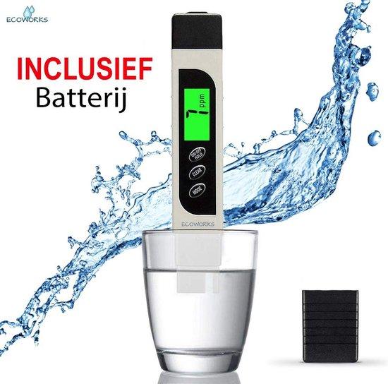 Ecoworks - Digitale TDS / EC Meter - Meet ook Temperatuur - Incl. Batterij - Watertester - Voor Zwembad, Aquarium, Drinkwater etc.
