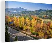 Herfstachtige dag in een buitenwijk van het Zuid-Koreaanse Seongnam Canvas 180x120 cm - Foto print op Canvas schilderij (Wanddecoratie woonkamer / slaapkamer) XXL / Groot formaat!