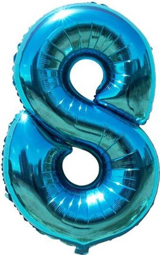 Cijfer ballon 8 jaar Babydouche - blauw folie helium ballonnen - 100 cm - blauwe acht verjaardag versiering