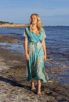 Ibizaflower zijde omslagjurk lang - lichtblauw
