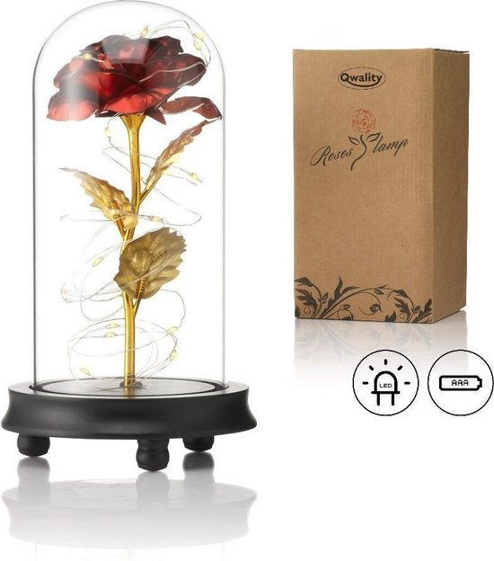 Luxe Roos in Glas met LED – Gouden Roos in Glazen Stolp – Beauty and the Beast Rose - Roses of Eternity - Cadeau voor vriendin moeder haar - Donkere Voet - Qwality