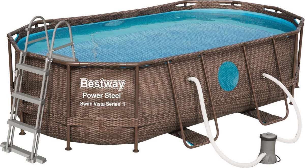 Bestway zwembad power steel set ovaal rotan swim vista 427 x 250 x 100 cm