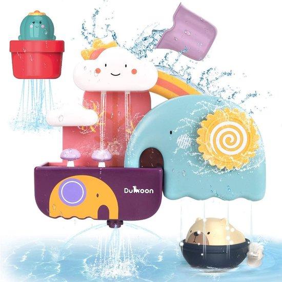 GILOBABY - bad- en zwembad speelgoed voor peuters en kleuters - wandspeelgoed voor babybadjes - olifant, watervalvulling, draai en vloei, met beer en cactus - cadeau voor kinderen van 1 t/m 6 jr.