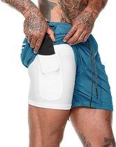 JS Sportbroek 2 in 1 Shorts Incl. Mobiel Zak Heren - Maat S