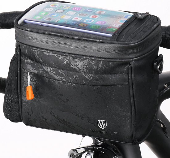 Stuurtas fiets - fietstas afneembaar, telefoonhouder, kaarthouder - Universeel te monteren - Waterdicht - Gratis regenhoes en draagband