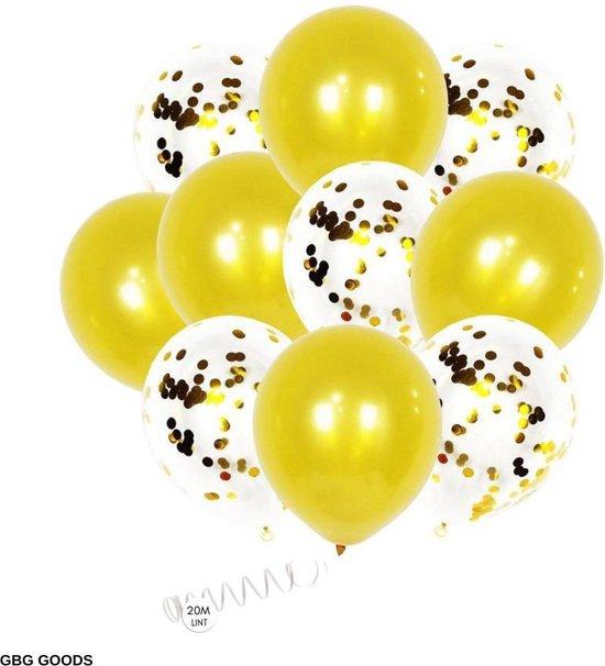 GBG 20 stuks Goud Ballonnen met Lint – Decoratie – Feestversiering - Papieren Confetti – Gold - Gold Latex - Verjaardag - Bruiloft - Feest