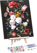 Rubye® Schilderen Op Nummer Volwassenen – Bloemen in Vaas – Met Frame en Schildersezel – 40x50cm