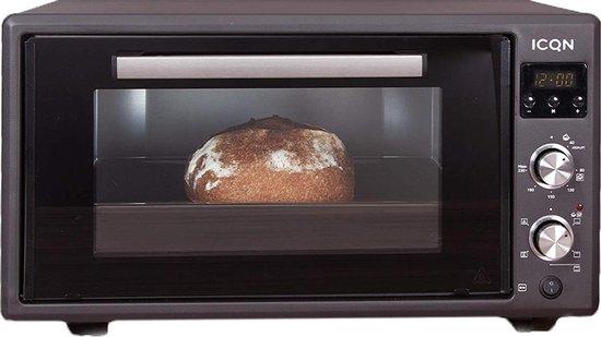 ICQN Vrijstaande Oven met digitale timer - 50 Liter - Dubbel glas - Hetelucht...