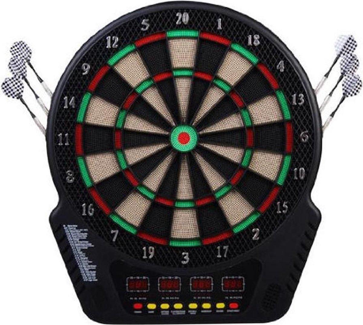 Luxe Elektronisch Dartbord - Elektrisch Safety Darts Board Set Met Dartpijlen - Dart Bord Met Digitaal Scorebord - Dartspel Voor 6 Spelers - 243 Dartspel Variaties