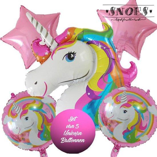 * Snoes * Unicorn * Eenhoorn Unicollors Kleurrijk Roze * Set van 5 Ballonnen XL * Unicorn set * Eenhoorn verjaardag * Hoera Jarig * Birthday