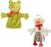 kikker en eend handpoppen - handpop - poppenkastpoppen - speelhandschoen - poppenkast - pluchen speelgoed - Blijderij