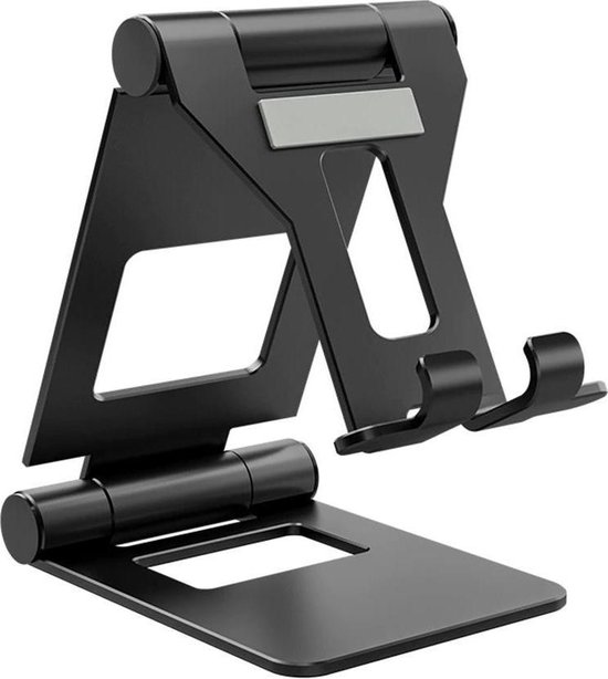 Allteq - Telefoon en tablethouder - Inklapbaar - Opvouwbaar - Antislip - t/m 12 inch - Aluminium - Zwart