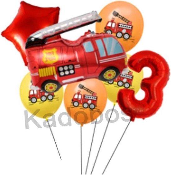 Brandweer ballonnen set verjaardag 3 jaar - folie ballon brandweerwagen 7 delig