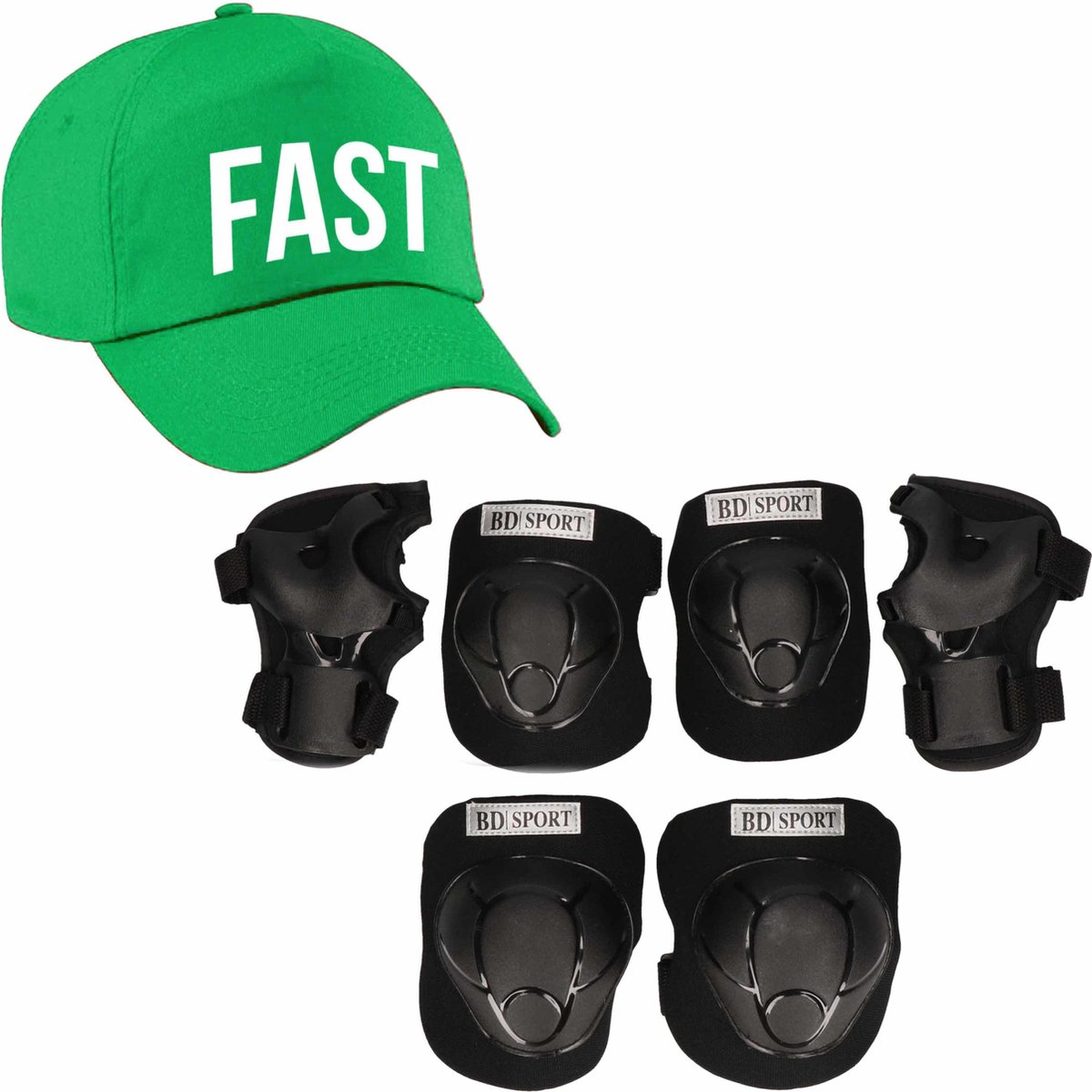 Set van valbescherming voor kinderen maat S / 4 tot 5 jaar met een stoere FAST pet groen