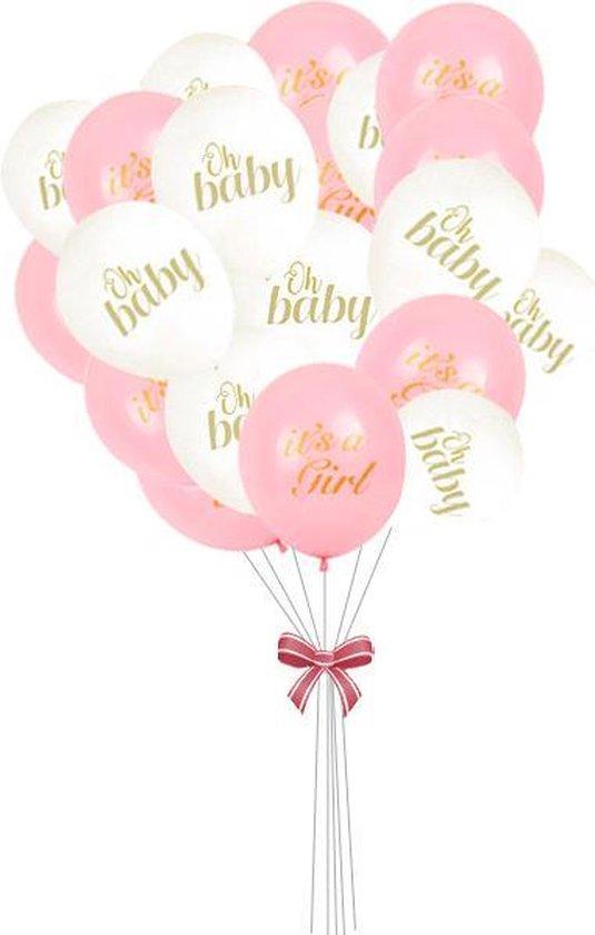 Geboorte ballonnen set meisje - Babydouche babyshower versiering roze - It
