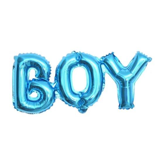 LOHECO® Folieballon BOY Blauw - Gratis Ophanglintje en Rietje - Ballonletters