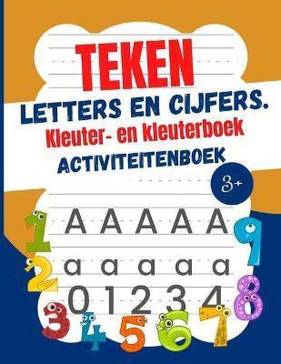 Teken letters en cijfers Kleuter -en kleuterboek Activiteitenboek