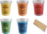 Bakiez® Suikerspinsuiker- Suikerspin Suiker- Fruitmix [aardbei/appel/banaan/bosbes/sinaasappel] - 5 maal 400 gram - incl. gratis stokjes