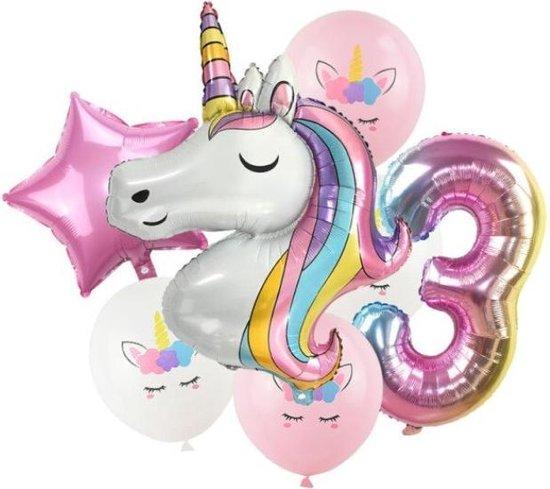 Unicorn ballon - Dieren ballon - 3 jaar - Kinderfeestje - Drie jaar - Verjaardagfeest - ballonnen pakket - Kinderfeestje pakket - Unicorn ballonnen pakket