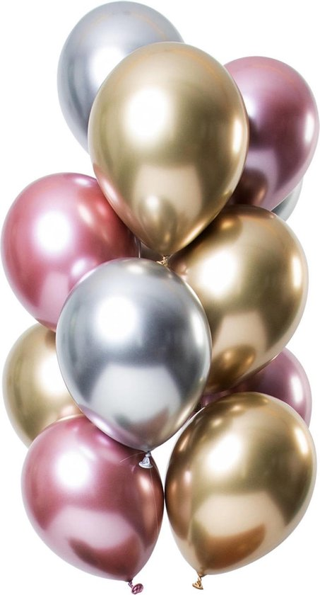 Zilveren, Gouden en Roze Ballonnen Mix Chroom 33cm 12st